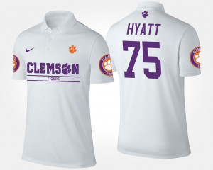 Mens Name and Number Mitch Hyatt Clemson Tigers Polo White #75
