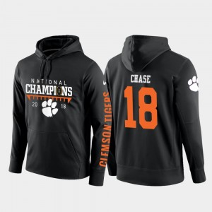 College Football Pullover Mens #18 2018 National Champions Black T.J. Chase Clemson Tigers Hoodie