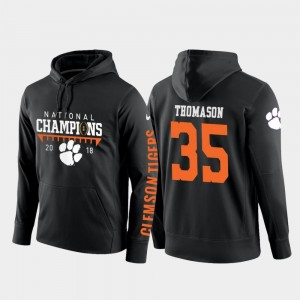 2018 National Champions Men #35 College Football Pullover Black Ty Thomason Clemson National Championship Hoodie