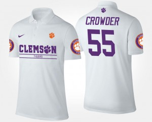Mens Name and Number #55 White Tyrone Crowder Clemson University Polo