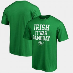 St. Patrick's Day Irish It Was Gameday For Men Colorado Buffaloes T-Shirt Kelly Green