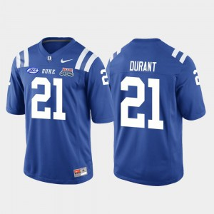 #21 For Men's College Football Game Mataeo Durant Duke Blue Devils Jersey Royal 2018 Independence Bowl