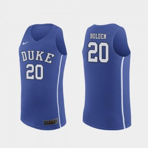 Royal #20 Men's Marques Bolden Duke Jersey March Madness College Basketball Authentic