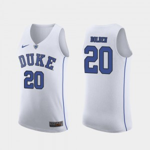 For Men's Marques Bolden Duke University Jersey #20 Authentic March Madness College Basketball White