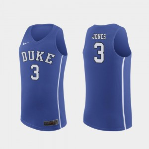 Royal #3 Tre Jones Blue Devils Jersey For Men's Authentic March Madness College Basketball