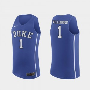 For Men's March Madness College Basketball Authentic Zion Williamson Blue Devils Jersey #1 Royal