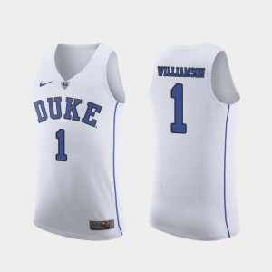 March Madness College Basketball Zion Williamson Blue Devils Jersey Mens #1 Authentic White