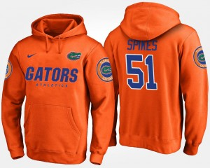 #51 For Men Brandon Spikes UF Hoodie Name and Number Orange