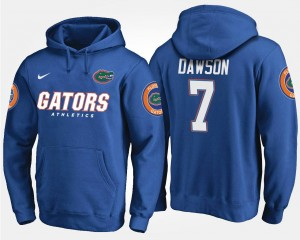 Blue #7 For Men Name and Number Duke Dawson UF Hoodie
