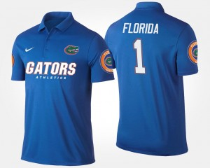 Men Blue Name and Number Florida Polo #1 No.1 Short Sleeve
