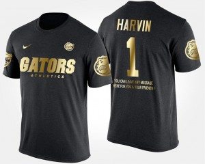 Short Sleeve With Message #1 Percy Harvin Florida T-Shirt Black Men Gold Limited
