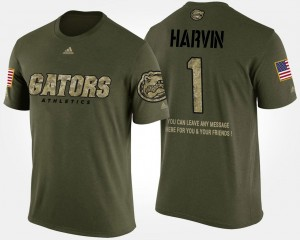 #1 Percy Harvin Florida T-Shirt For Men's Short Sleeve With Message Camo Military