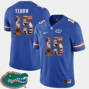 Tim Tebow University of Florida Jersey Pictorial Fashion #15 For Men's Royal Football