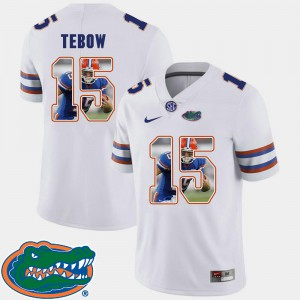 White Pictorial Fashion Tim Tebow UF Jersey Football #15 Men