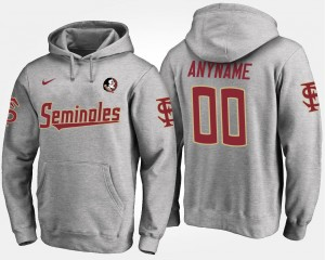 Name and Number Men's #00 Gray FSU Customized Hoodie