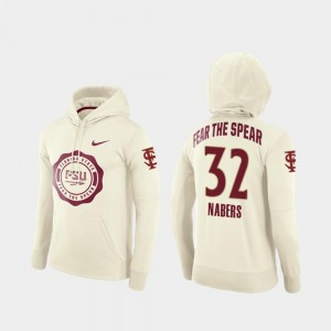 Gabe Nabers Florida State Hoodie #32 Cream College Football Pullover Rival Therma Men