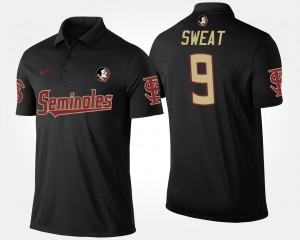 Black Josh Sweat Florida State Polo Name and Number #9 Men's