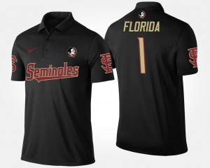 Name and Number No.1 Short Sleeve Men's Black #1 Seminoles Polo