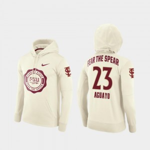 Ricky Aguayo Seminoles Hoodie Cream #23 Rival Therma College Football Pullover Men