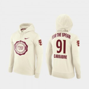 For Men #91 Cream College Football Pullover Tank Carradine Florida State Hoodie Rival Therma
