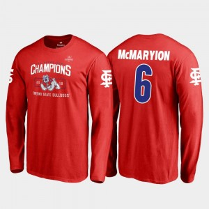 Blitz Long Sleeve Fanatics Branded Marcus McMaryion Fresno State Bulldogs T-Shirt For Men's 2018 Las Vegas Bowl Champions Red #6