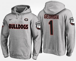 For Men Georgia Bulldogs Hoodie Name and Number Gray No.1 #1