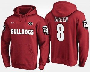 For Men #8 A.J. Green UGA Bulldogs Hoodie Name and Number Red