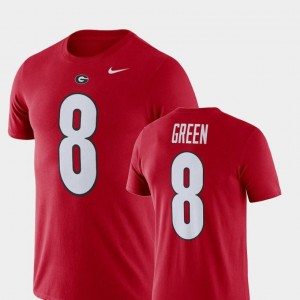 A.J. Green University of Georgia T-Shirt Red #8 Name and Number Nike Football Performance For Men's