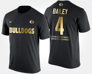 Champ Bailey University of Georgia T-Shirt Men Black Gold Limited Short Sleeve With Message #4