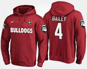 #4 Men Red Name and Number Champ Bailey Georgia Bulldogs Hoodie