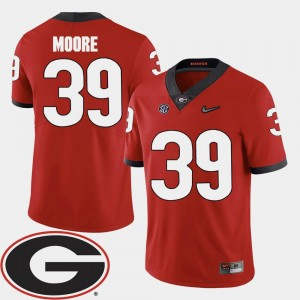 Red Mens 2018 SEC Patch #39 Corey Moore Georgia Bulldogs Jersey College Football