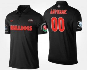 #00 Bowl Game Men University of Georgia Custom Polo Southeastern Conference Rose Bowl Name and Number Black