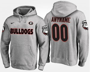 For Men Name and Number #00 Georgia Customized Hoodie Gray