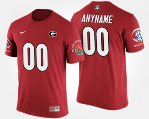 Southeastern Conference Rose Bowl Name and Number T shirt For Men's Bowl Game UGA Custom T-Shirt Red #00