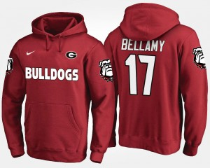 Red Name and Number Davin Bellamy University of Georgia Hoodie #17 For Men
