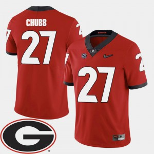 Nick Chubb UGA Jersey College Football 2018 SEC Patch Men Red #27