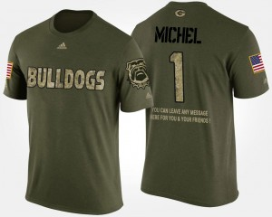 For Men #1 Camo Sony Michel UGA Bulldogs T-Shirt Military Short Sleeve With Message