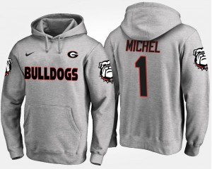 Name and Number Gray Men's #1 Sony Michel Georgia Hoodie