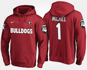 #1 Mens Sony Michel UGA Bulldogs Hoodie Name and Number Red