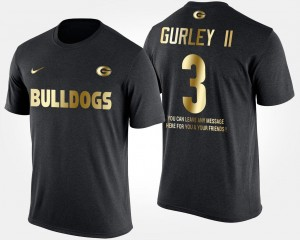 Black #3 Todd Gurley II Georgia Bulldogs T-Shirt Short Sleeve With Message Gold Limited For Men's