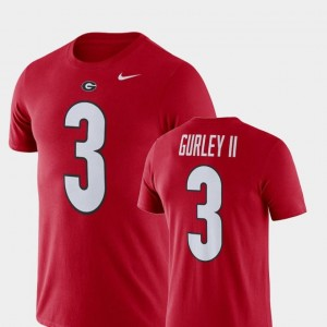 Todd Gurley II UGA T-Shirt Nike Football Performance #3 Mens Red Name and Number