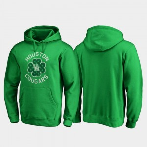Houston Cougars Hoodie Men's Kelly Green Luck Tradition Fanatics Branded St. Patrick's Day