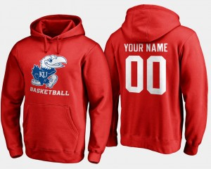 Red #00 For Men's Basketball Name and Number Kansas Jayhawks Customized Hoodies