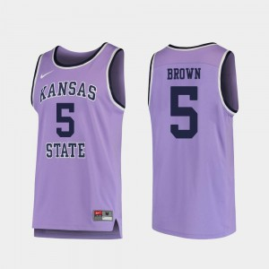 #5 Barry Brown Jr. K-State Jersey College Basketball Purple Replica For Men's