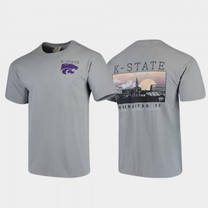 Kansas State Wildcats T-Shirt Gray Campus Scenery Comfort Colors Mens