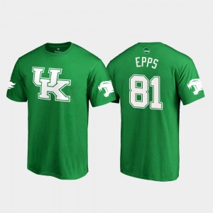 Isaiah Epps Wildcats T-Shirt St. Patrick's Day #81 Kelly Green White Logo College Football For Men