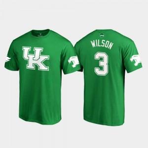 Men #3 St. Patrick's Day Terry Wilson Wildcats T-Shirt Kelly Green White Logo College Football