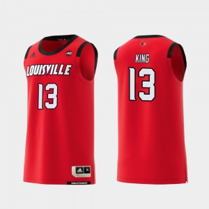 #13 V.J. King Louisville Jersey Red College Basketball Mens Replica