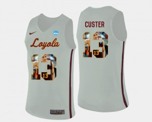 Clayton Custer Ramblers Jersey For Men #13 Basketball Pictorial Fashion White