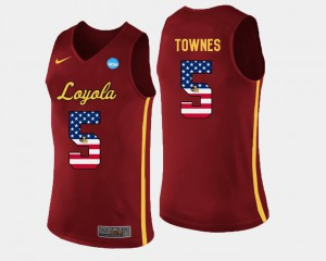 Basketball Mens Marques Townes Loyola Jersey #5 Maroon US Flag Fashion
